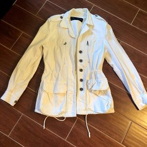 White canvas Zara utility jacket